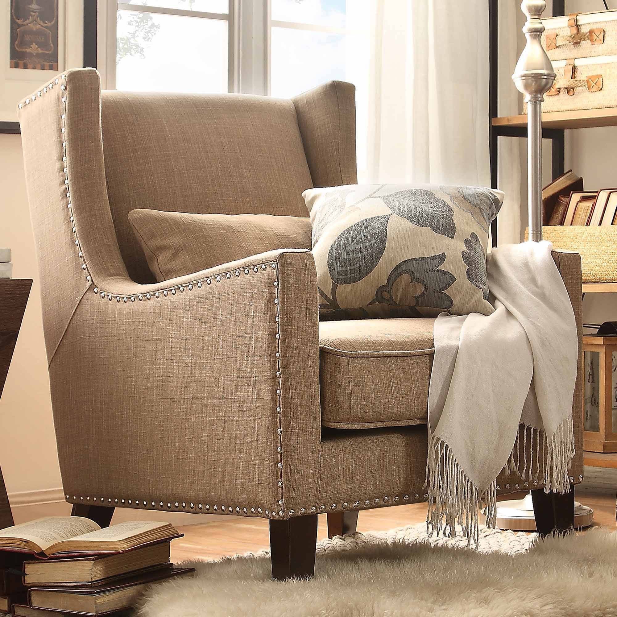 Weston Home St Alden Living Room Linen Accent Chair With Matching Throw Pillow Light Brown Walmart Com Linen Accent Chairs Blue And Gold Bedroom Weston Home