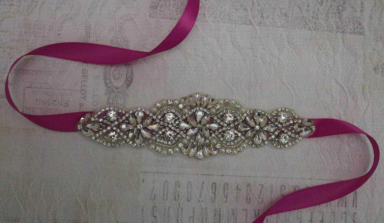 Hot Pink Sash Crystal Bridal Sash Belt Rhinestone Bridal Etsy Rhinestone Bridal Bridal Belt Bridal Sash