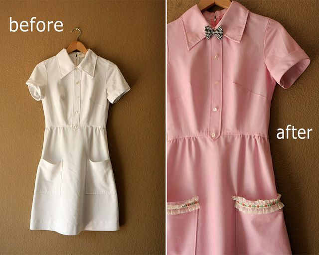 Pink Dress Before & After by Skunkboy Creatures., via Flickr. Great idea to dye a dress and add details to make it your own.