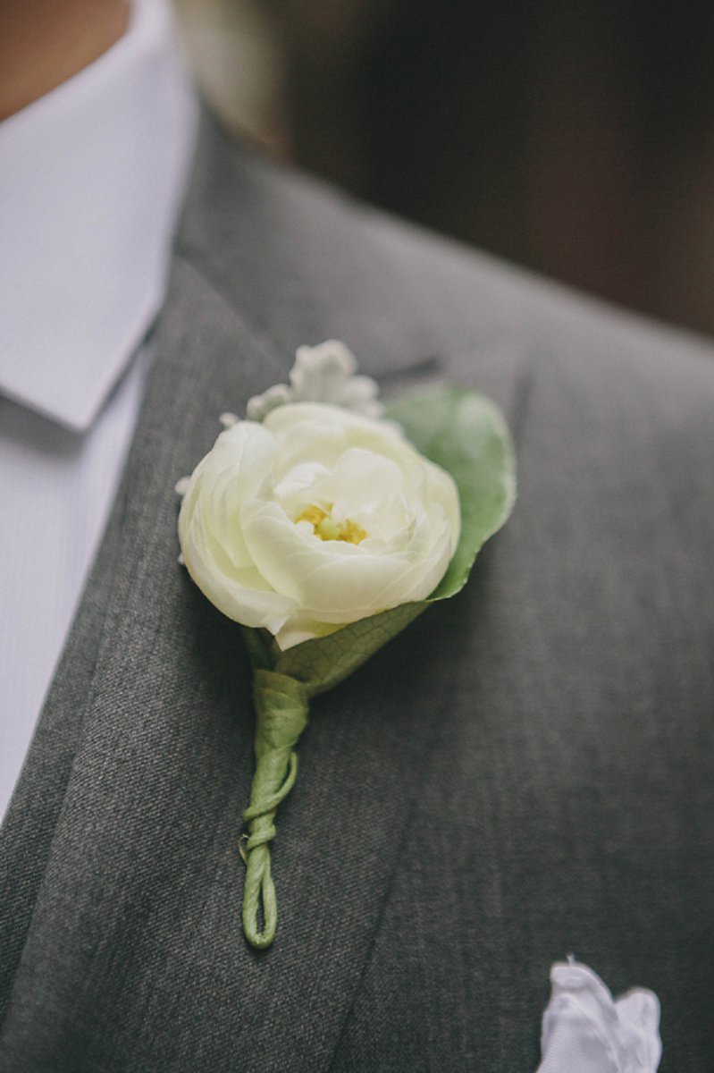 Pink And White Industrial Chic Chicago Wedding Every Last Detail Boutonniere Wedding Wedding Flowers White Ranunculus