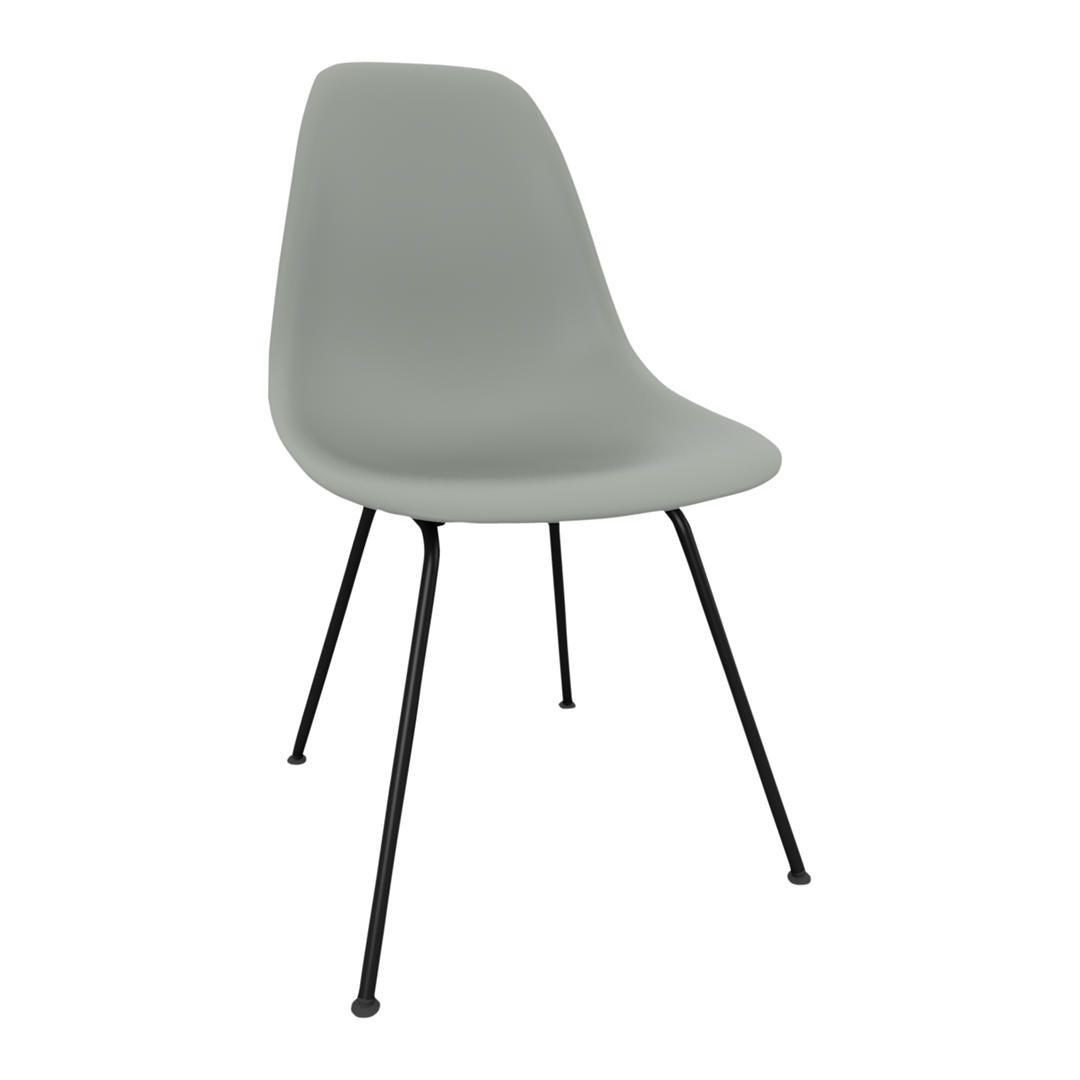 Vitra Eames DSX Side Chair, Black Metal Leg, White Side