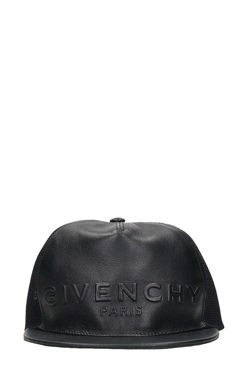 GIVENCHY BLACK LOGO LEATHER HAT.  givenchy    aa5965faae3