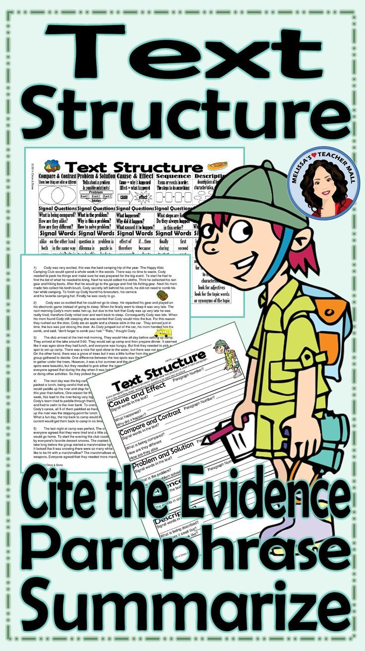 Text Structure Summarize Paraphrase Cite the Evidence Activities ...