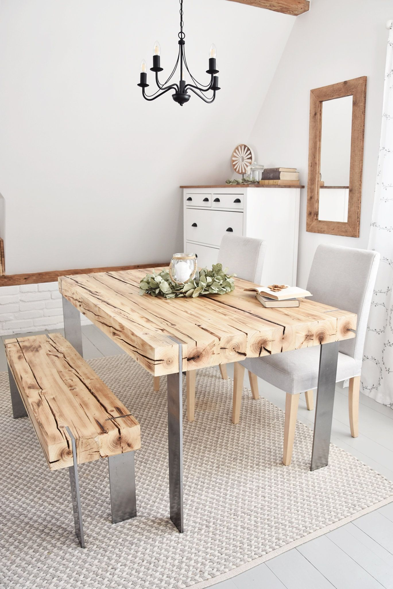 Hand crafted 6 seater farmhouse style modern reclaimed
