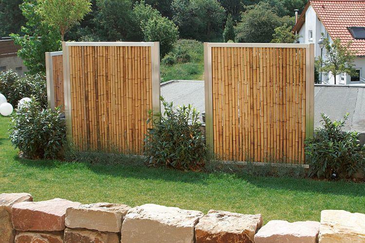 Bambus Sichtschutz in Edelstahl Rahmen. Nachhaltig und