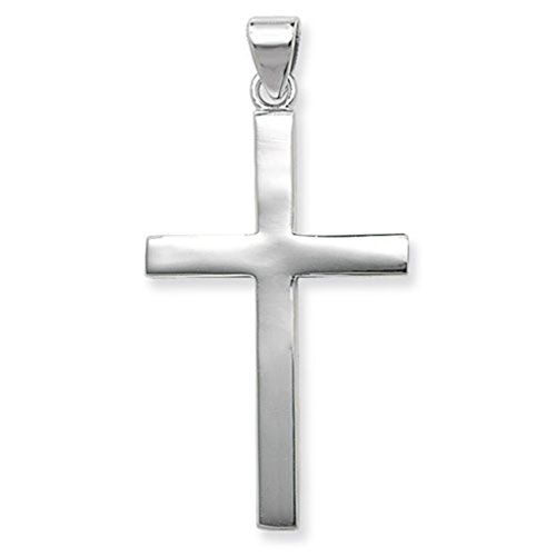 Mens sterling silver extra large plain cross pendant on a 24 inch mens sterling silver extra large plain cross pendant on a 24 inch black leather cord necklace aloadofball Image collections