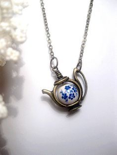 Flower Teapot Necklace  Forget Me Not  by FashionCrashJewelry