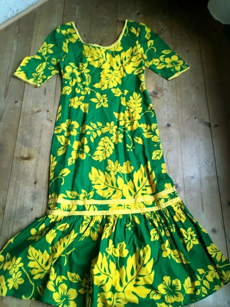 etuikleid mit falbe hippiekleid 70er kleid hawaii gruen gelb 38 40