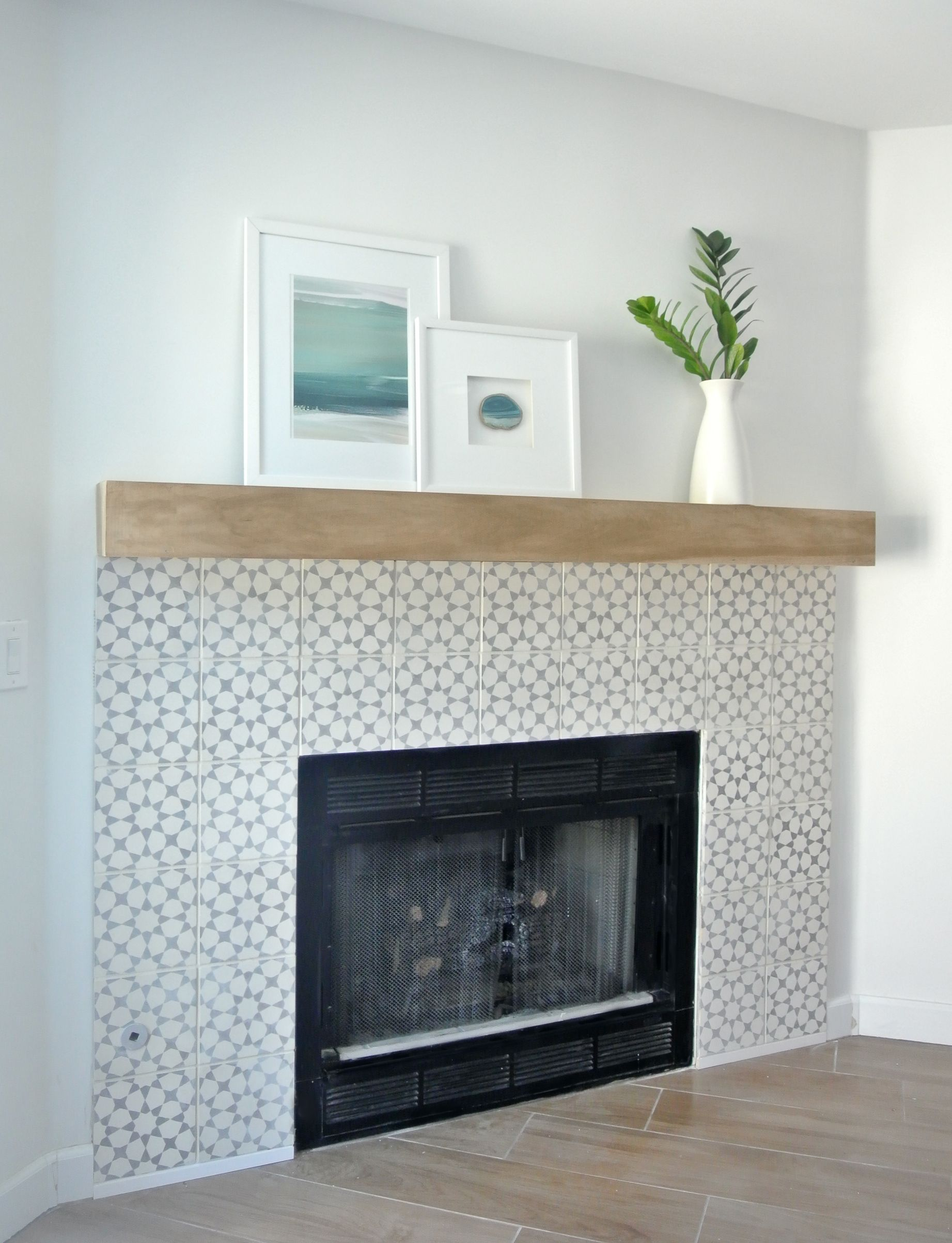 glass primitive mantels sea on fancy around designs of ideas fireplace round tile surround pinterest makeover