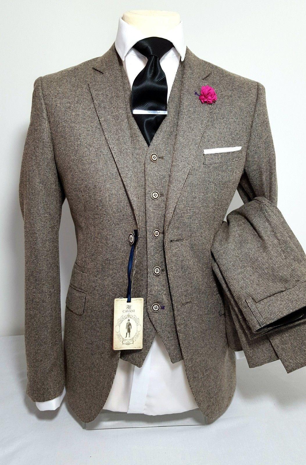 Mens Tan 3 Piece Tweed Suit Wedding Party Prom Tailored Smart Tweed Wedding Suits Tweed Suits Well Dressed Men