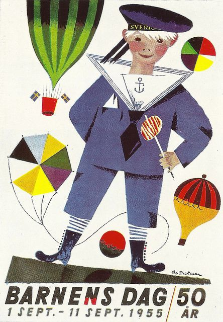 Barnens Dag 1955 - Sweden, Childres Day poster, 1955 - design by Per Beckman by mikeyashworth, via Flickr