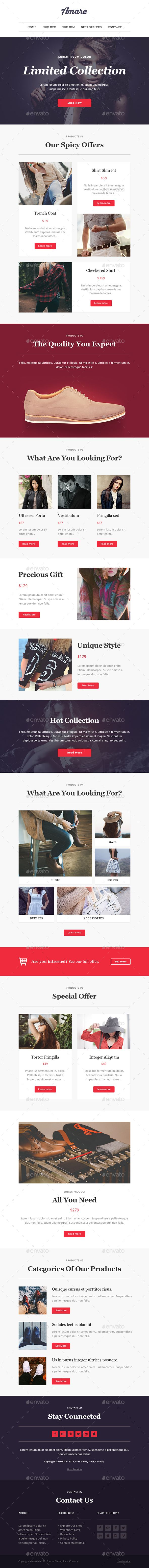 amare modern email newsletter template pinterest newsletter