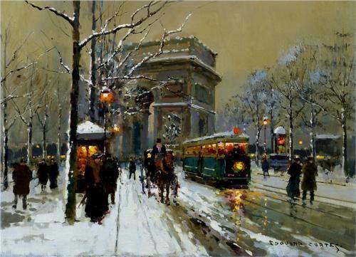 The Triumphal Arc, Winter - Edouard Cortes #Painting #Art #Paris