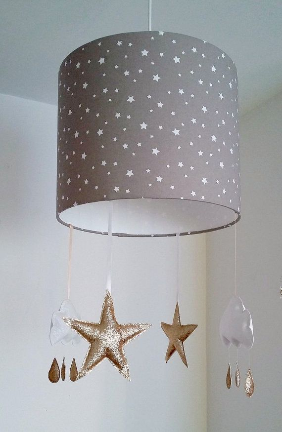 Gold Star Lampshade Cloud Nursery Decor By Mobilampshades