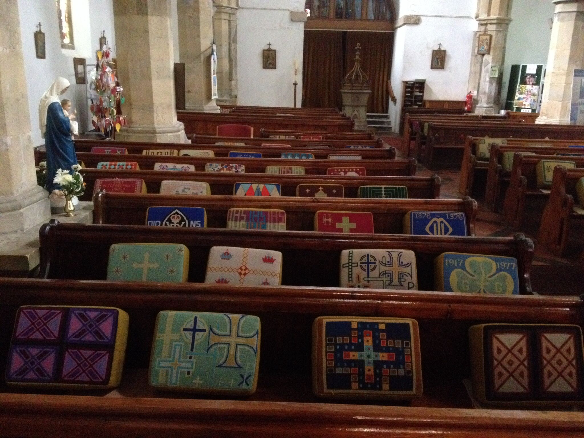 Kneelers in Church of St Peter and St Paul, Caistor, Lincolnshire