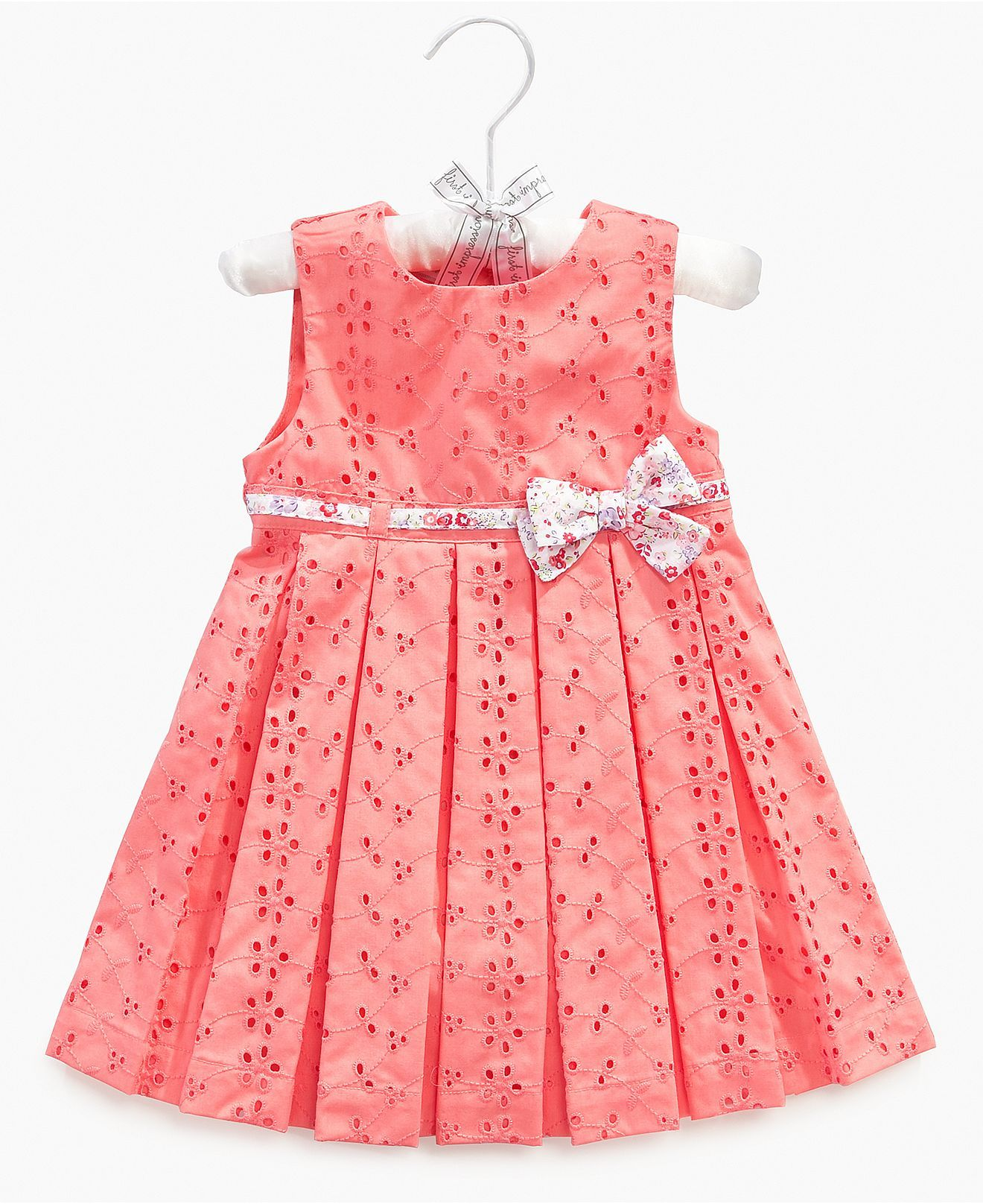 First Impressions Baby Dress, Baby Girls Satin Hanger Eyelet Dress ...