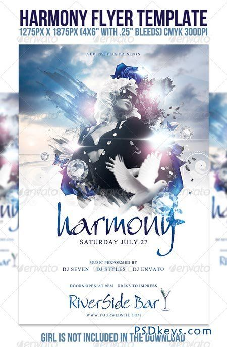 Harmony - ss flyer club white simple dia ink flash sky Graphic - harmony flyer template