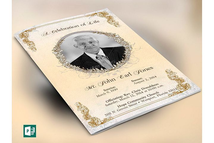 Victorian Funeral Program Publisher Template from DesignBundlesnet