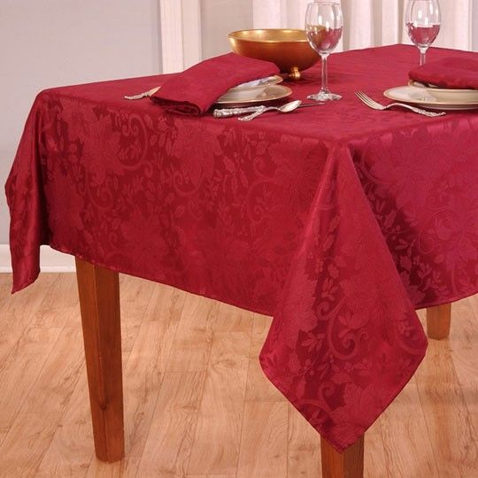 Poinsettia Damask Red Tablecloth $4.00