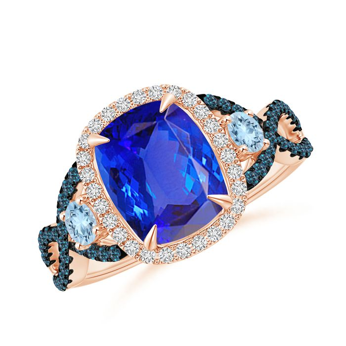 Angara Cocktail Ring with Natural Tanzanite in White Gold HlDQF