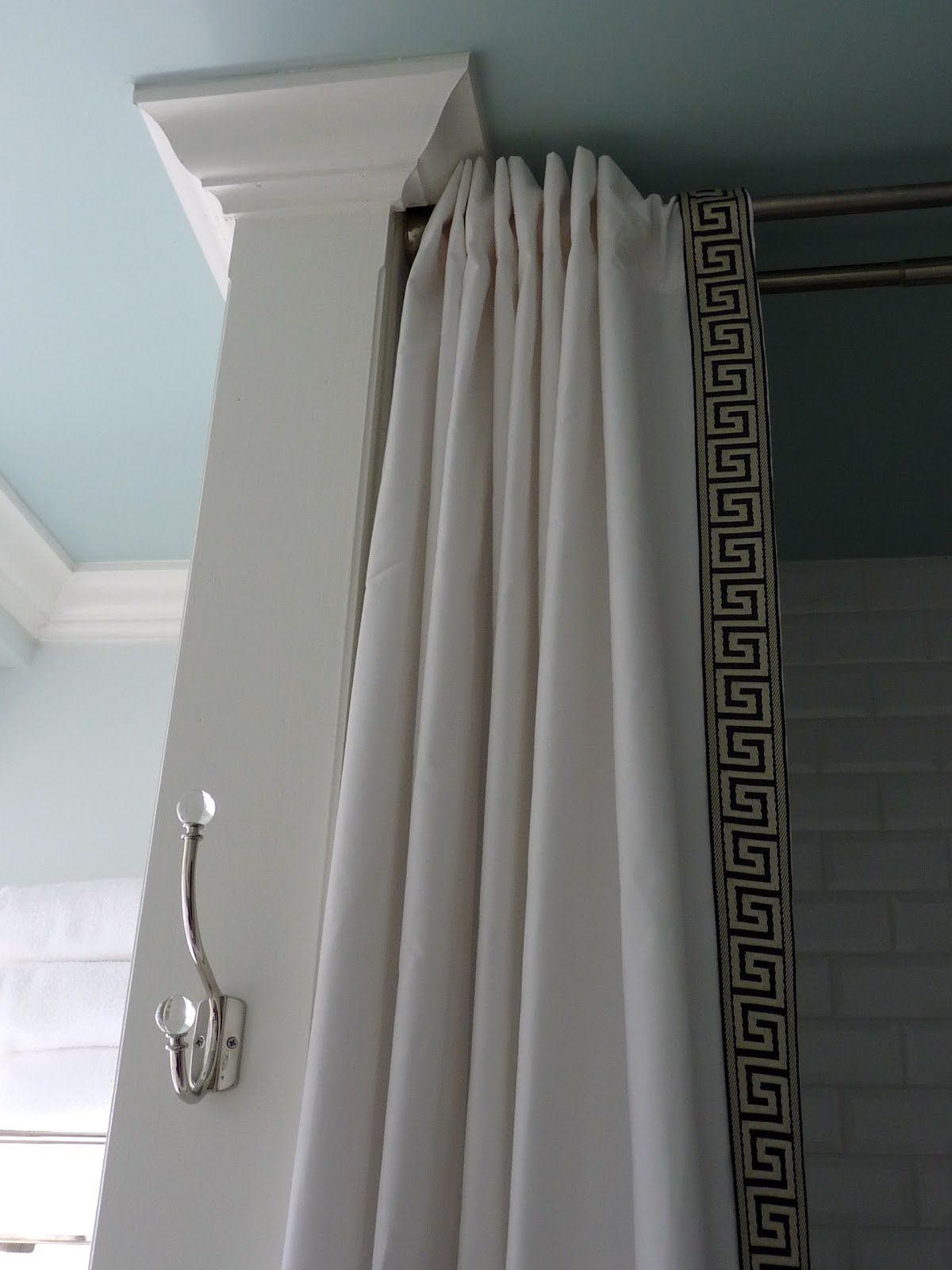 Decoration Ideas Stylish White Greek Style Curtain Shower With