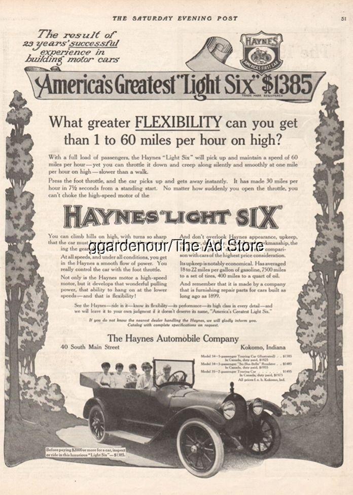 1915 Haynes Automobile Company Kokomo IN Indiana Vintage Light Six ...