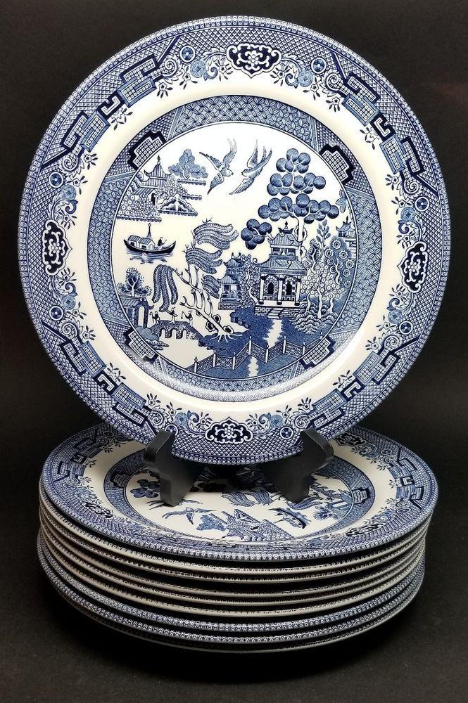 LOT of 10 - Churchill BLUE WILLOW Dinner Plate 10-1/4  ENGLAND & LOT of 10 - Churchill BLUE WILLOW Dinner Plate 10-1/4