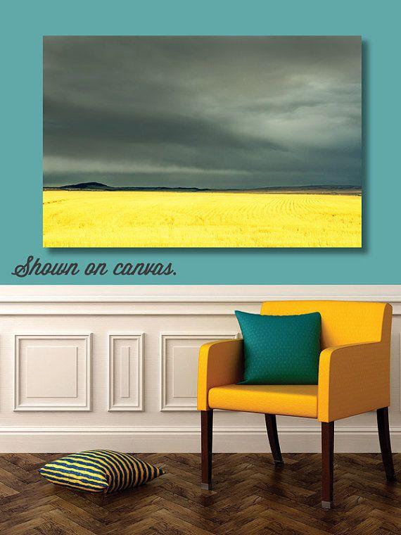 landscape wheat field large wall art yellow gray by MTPhotoJournal ...