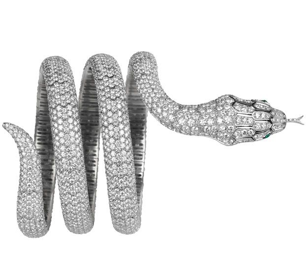A Boucheron diamond bracelet in the shape of a python, a house motif