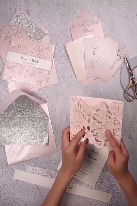 Silver Glittered Blush Laser Cut Wedding Invites Ewts010