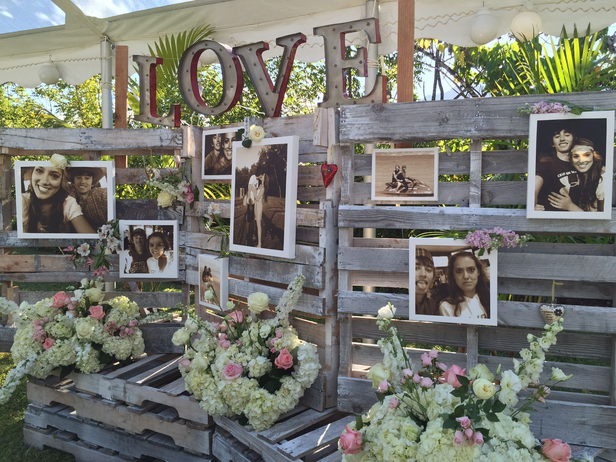 Country Chic Wooden Pallet Wedding Backdrop L O V E Marquee Lighting