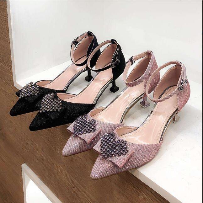 Abordable Noire Soirée Chaussures Femmes 2019 Faux Diamant 5 cm Talons Aiguilles À Bout Pointu Talons Hauts