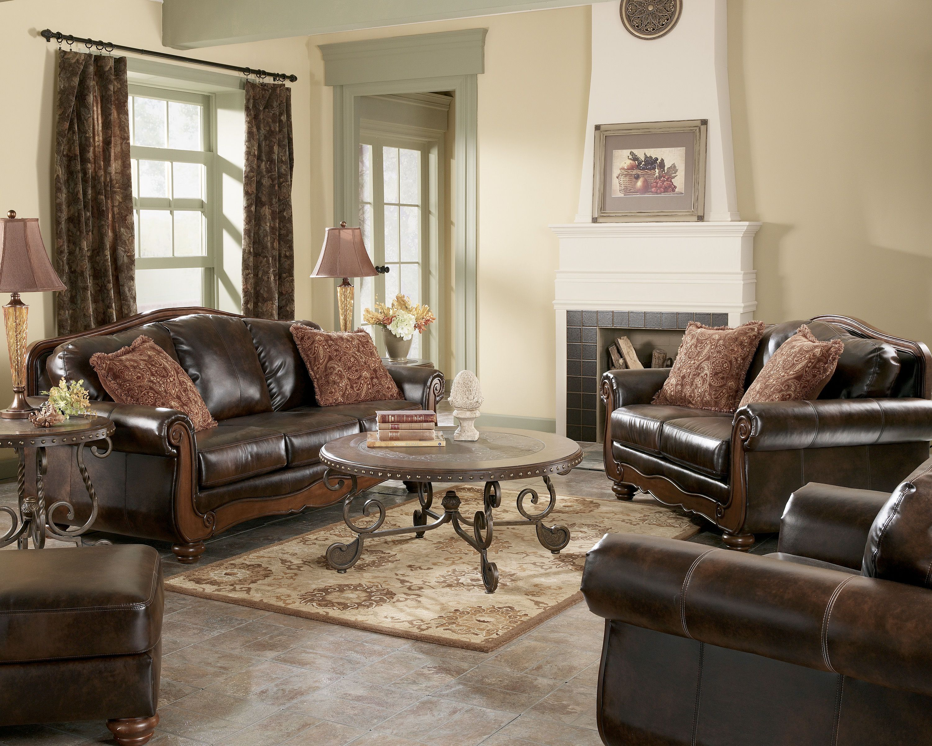 Remarkable Barcelona Traditional Antique Faux Leather Living Room Set Machost Co Dining Chair Design Ideas Machostcouk