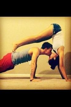 kissyoga  partner yoga couples yoga fit couples