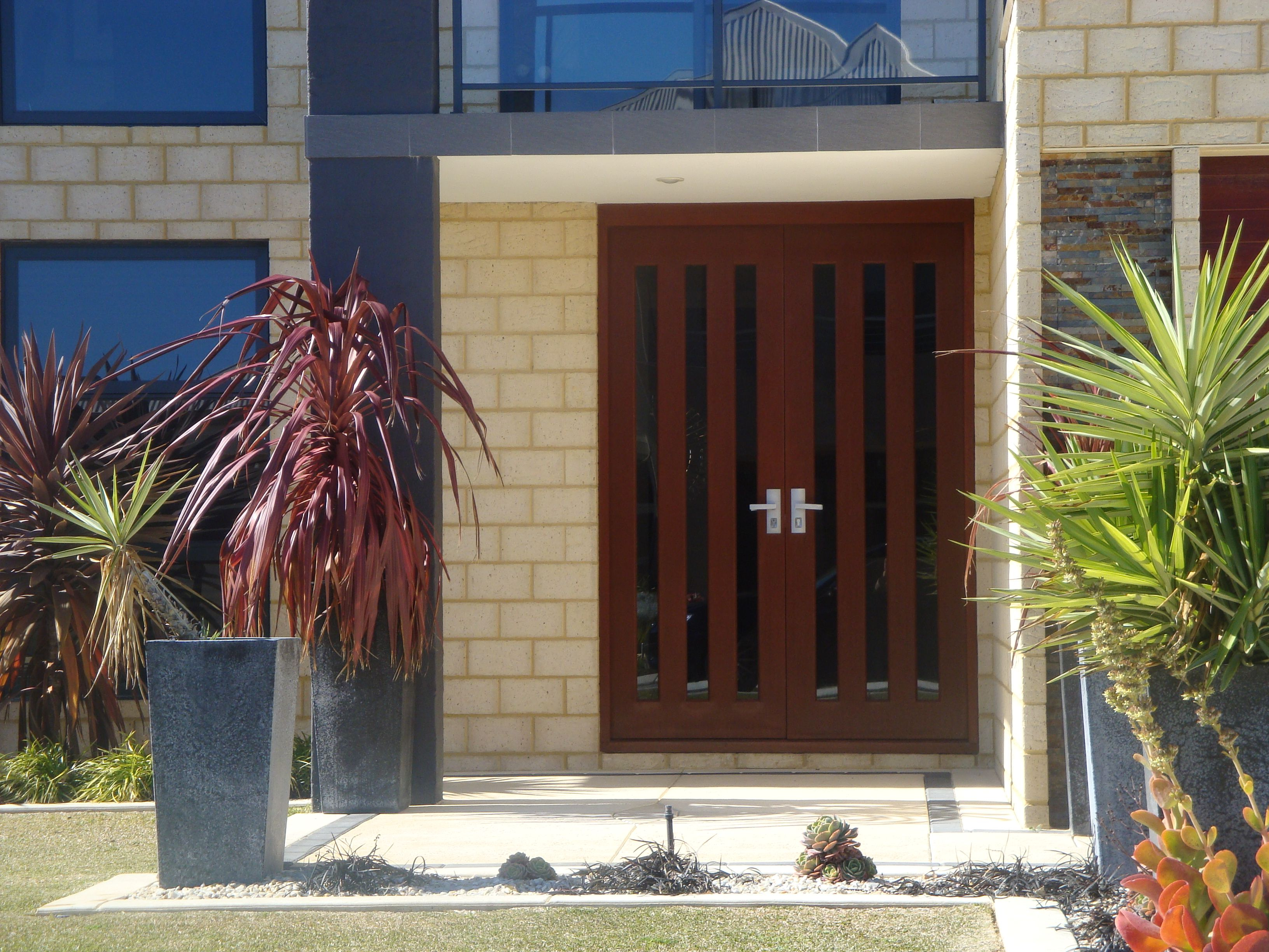 Pair Of Solid Engineered Timber Adelaide Entrance Doors With Grey Tinted  Glass, All Door Stop