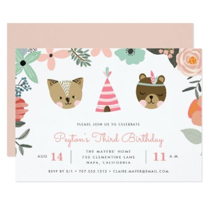 Woodland friends kids birthday party invitation kids birthday woodland friends kids birthday party invitation stopboris Choice Image