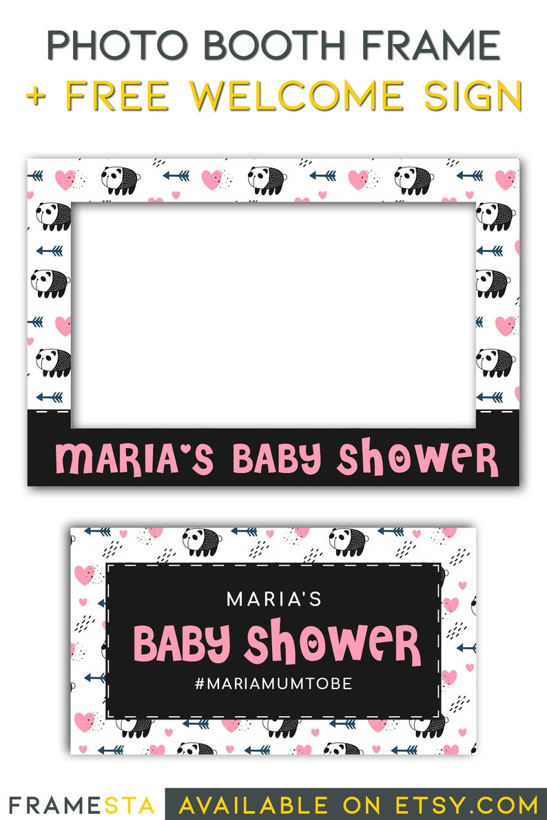 Panda Party Photo Booth Frame Free Welcome Sign Panda Birthday