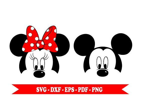 Mickey And Minnie Mouse Svg Minnie And Mickey S Face Clip Art Digital Format Svg Eps Dxf Png Pdf For Silhouette Cameo Cricut Vinyl Mickey Minnie Mouse Minnie