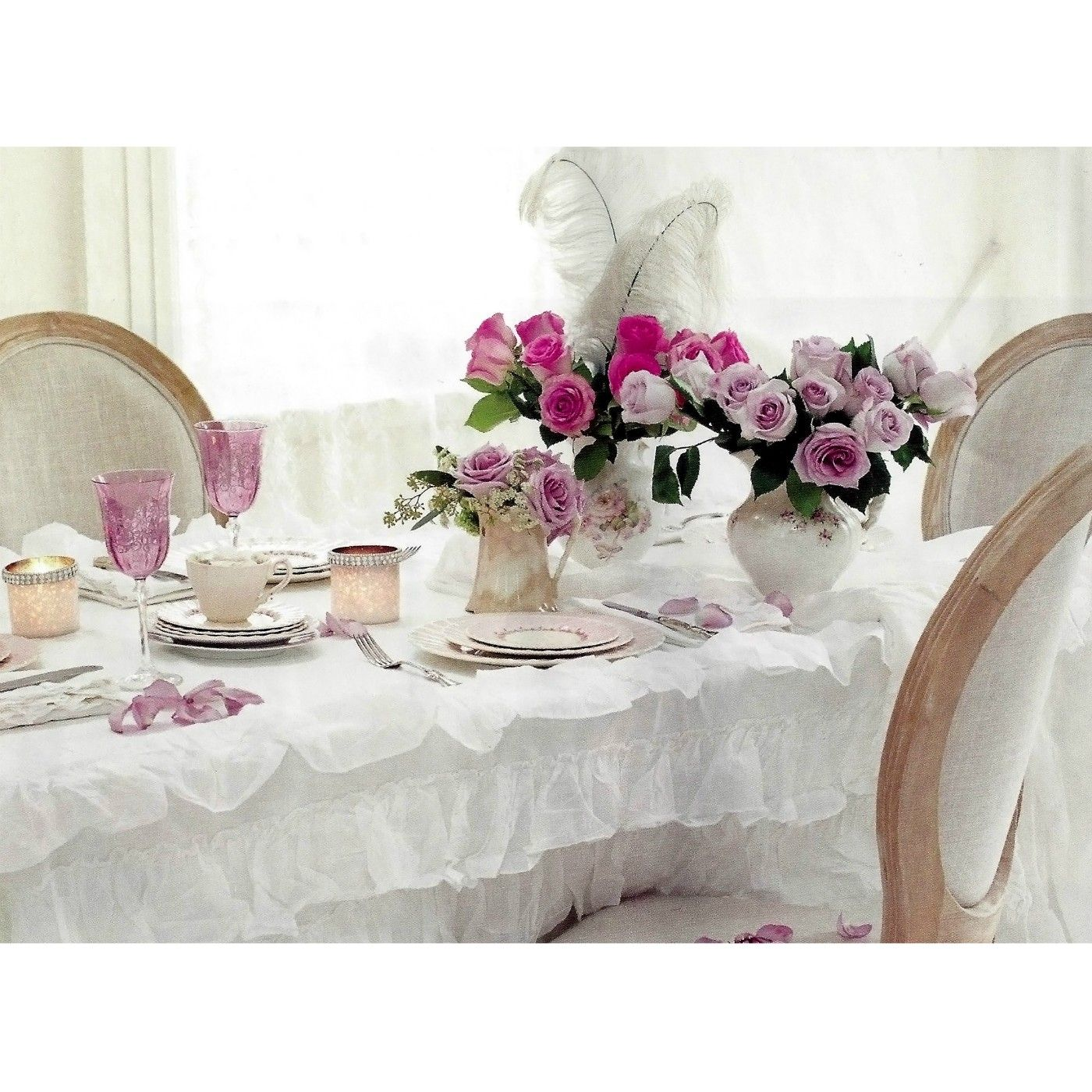 Pom Pom At Home Audrey Cotton White Ruffle Tablecloth #dining #linen