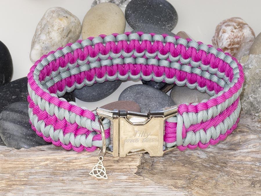 Dark Pink Silver Grey Apollo Paracord Dog Collar With A Strong