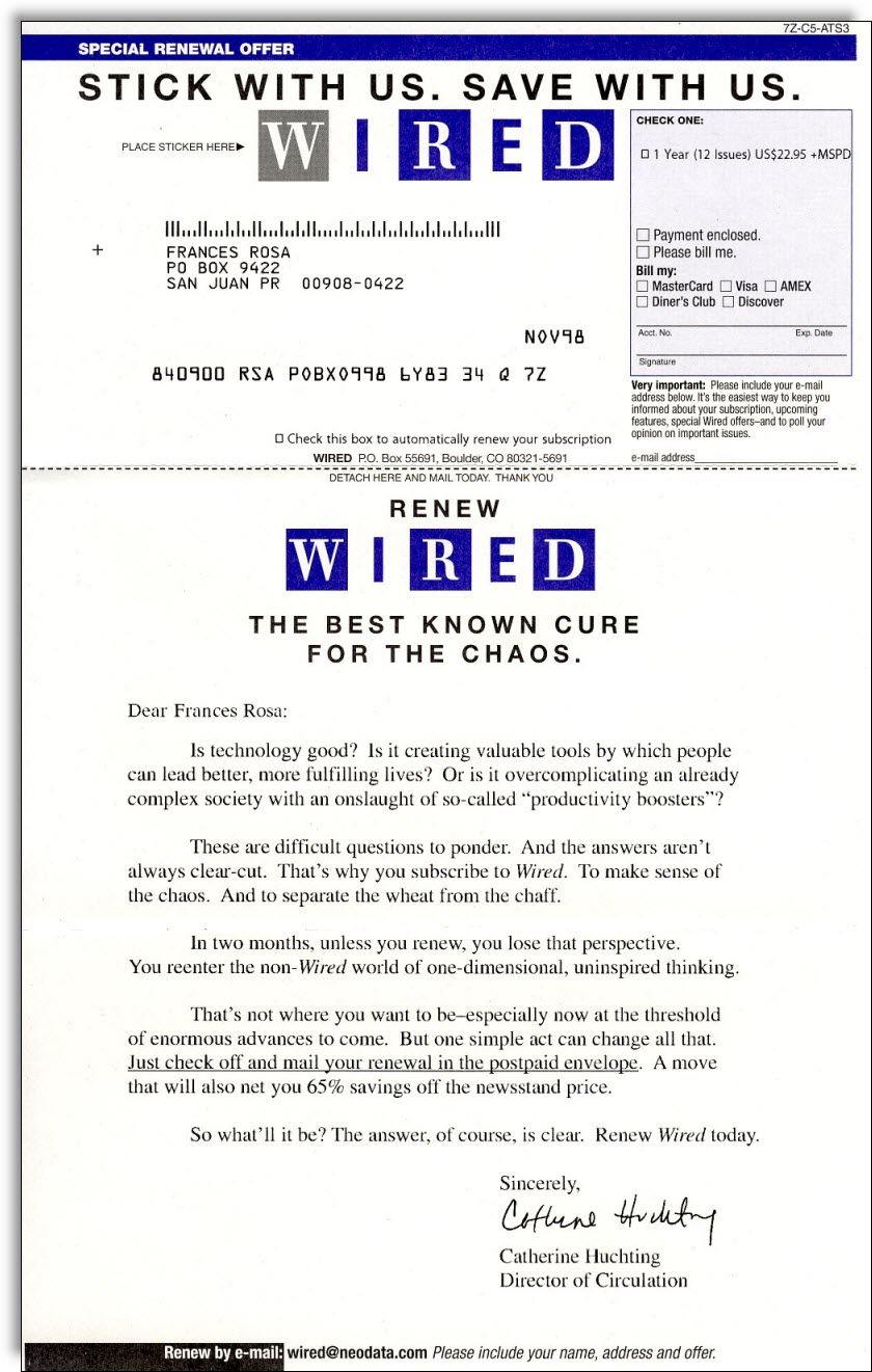 Wired Magazine Renewal Campaign Lapsed Subscriber Examples