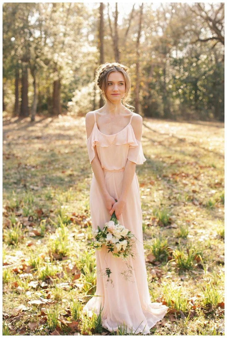 Romantic beach blush pink bridesmaid dresses off shoulder chiffon