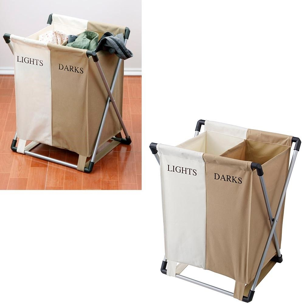 Double Laundry Bin Clothing Hamper Basket Bags 2 Compartments
