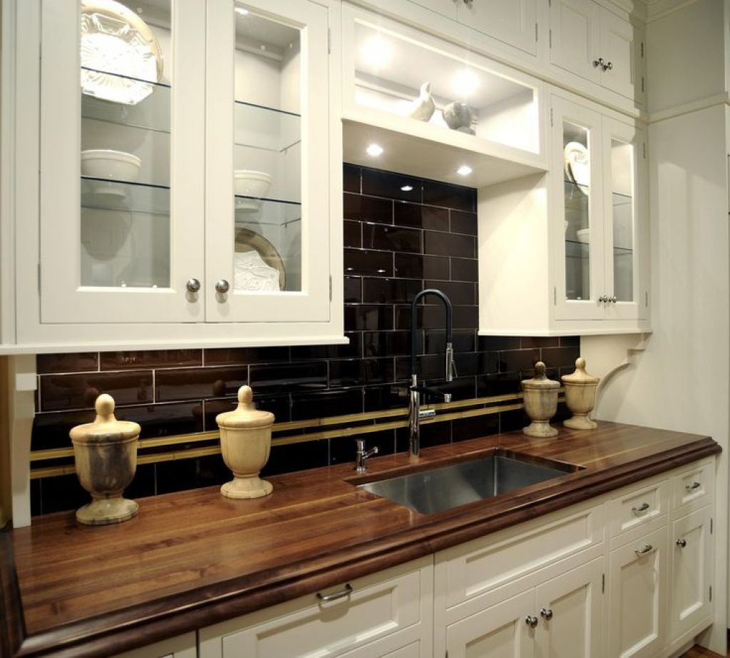 Kitchen Wood Walnut Countertops Black subway tiles Countertops