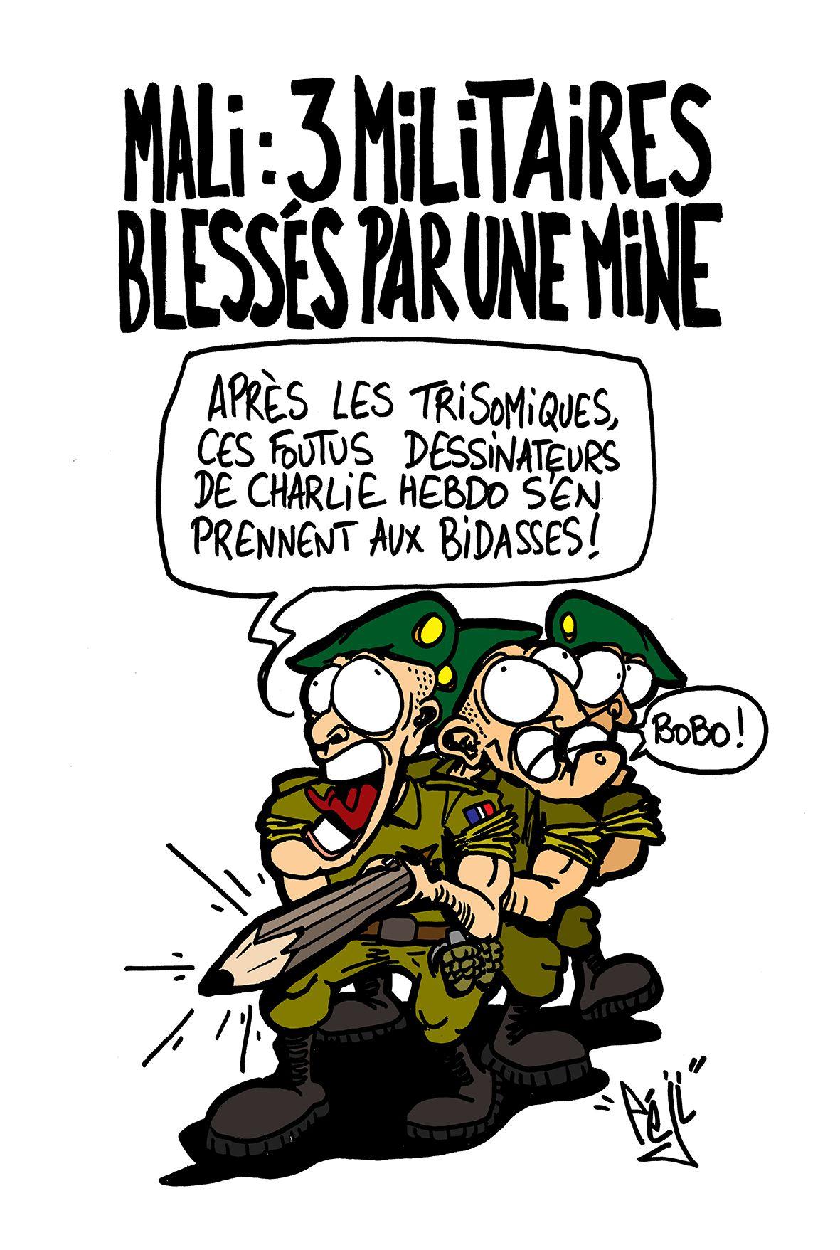 P ji dessin militaires bless s au mali caricatures - Dessin de militaire ...