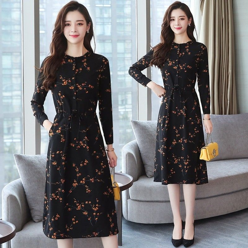edf82b350b8 2018 Autumn Winter New Black Floral Vintage Dress Plus Size Midi Dresses  Korean Elegant Women Party Long Sleeve Bodycon Vestidos