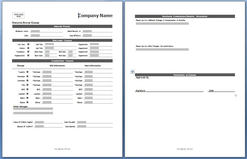 Employee status change form My board Pinterest - employee record form