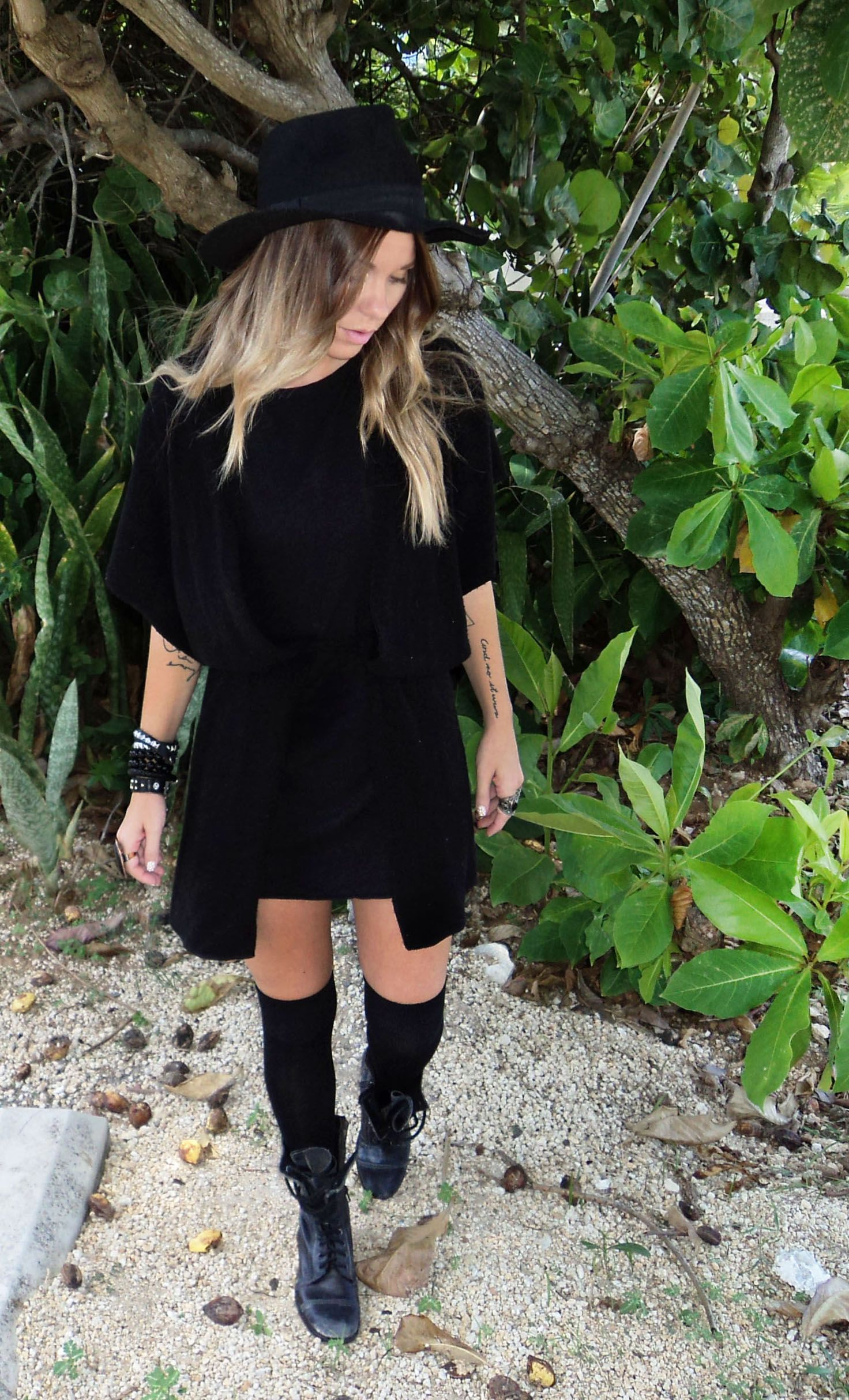 Bewolf blog hatknee highsbootsdress poncho fashion