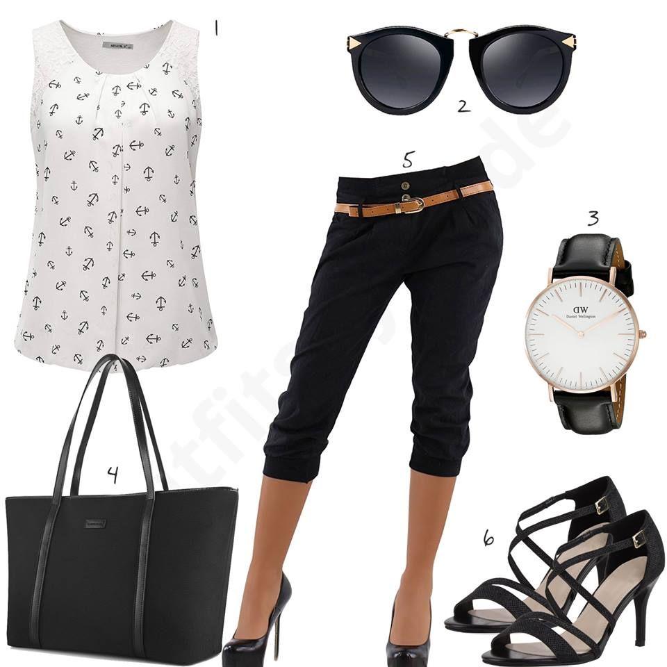 749faf616754b Schickes Damen-Outfit mit 3 4-Hose und Sandalen (w0475)