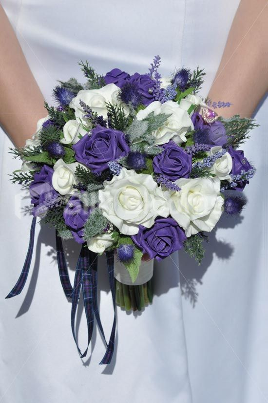 Vintage Purple Roses Scottish Thistle Wedding Bridal Bouquets Purple Wedding Bouquets Thistle Bouquet Wedding